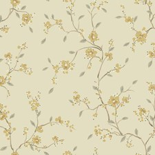Pale Taupe/Metallic Gold/Tan Floral Wallcovering by York