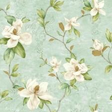 Aqua/Cream/Beige Floral Wallcovering by York