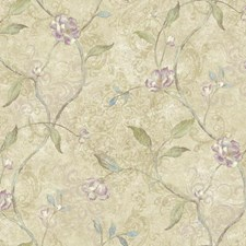 Beige/Purple/Pale Yellow Botanical Wallcovering by York