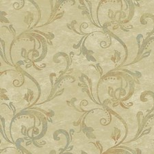 Beige/Tan/Aqua Traditional Wallcovering by York