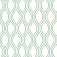 White/Light Blue/Metallic Modern Wallcovering by Kravet Wallpaper