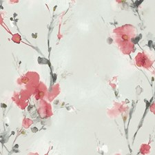 Neutral/Red/Grey Botanical Wallcovering by Kravet Wallpaper