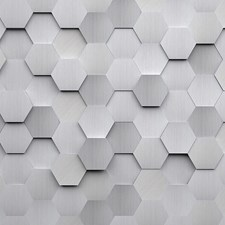 WALS0254 Metal Hexagons Wall Mural by Brewster