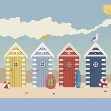 WALS0272 Beach Huts Wall Mural by Brewster