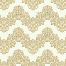 White/Soft Metallic Gold Chevron Wallcovering by York