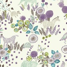 White/Purple/Teal Children Wallcovering by York