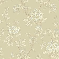 Beige/White/Grey Floral Wallcovering by York