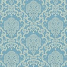 Bright Blue/Light Blue/White Damask Wallcovering by York