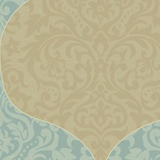 Turquoise/Gold Wallcovering by Scalamandre Wallpaper