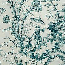 Aqua Hand Printed Wallcovering by Scalamandre Wallpaper