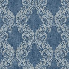 Medium Blue/Dark Blue/Silver Damask Wallcovering by York