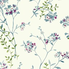 White/Grey/Blues Floral Wallcovering by York