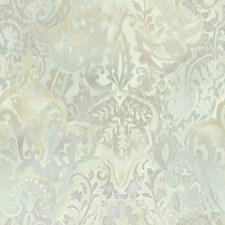 Light Grey/Soft Blue/Peach Damask Wallcovering by York
